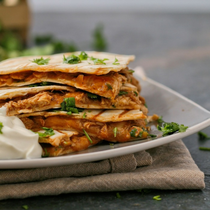 Chicken quesadillas with cheese and coriander.