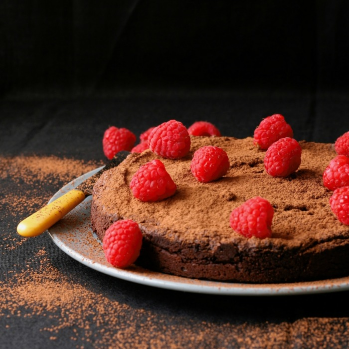 Flourless dark chocolate cake.