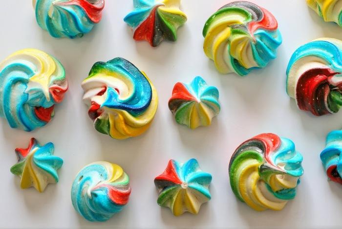How to make rainbow meringues.