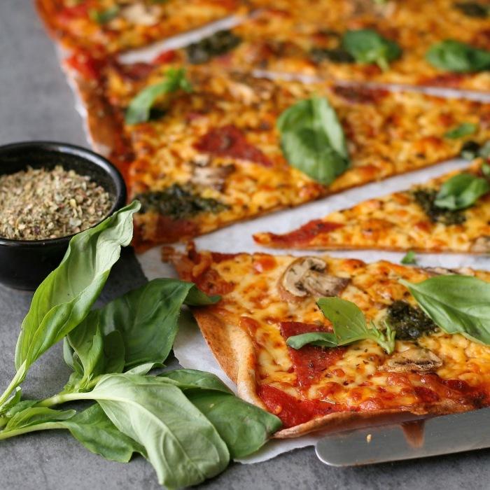 Home made thin crust pizza recipe.
