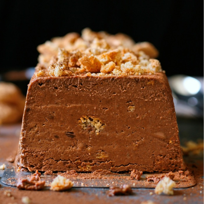 Dark chocolate and amaretti semifreddo.