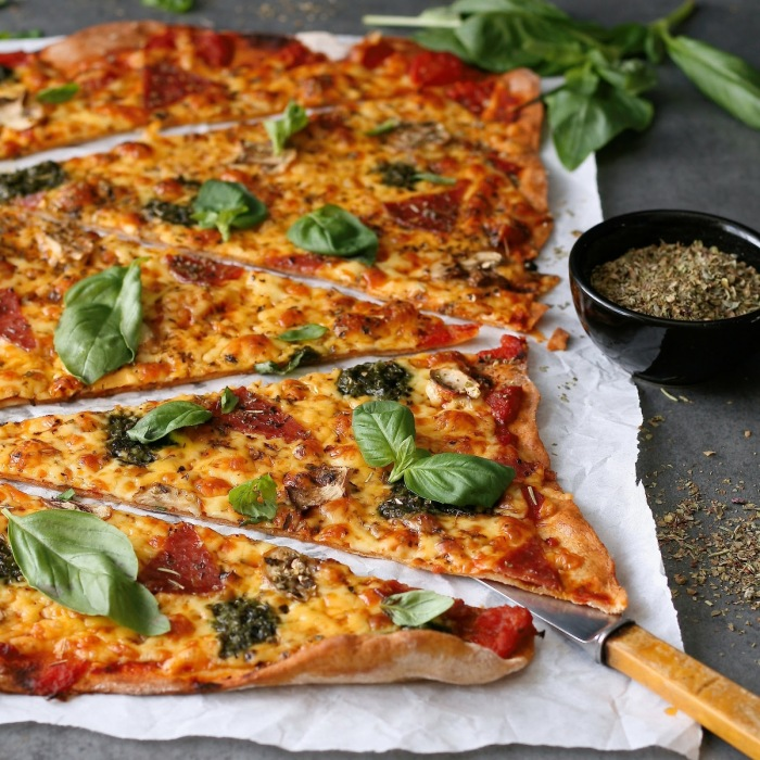 Spelt flour pizza base.