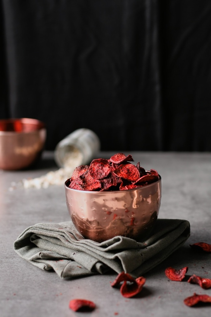 Homemade beetroot crisps