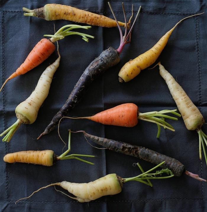 Organic rainbow carrots.