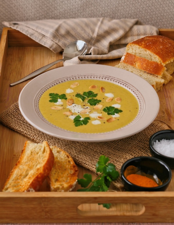 Butternut soup with spices and cream.