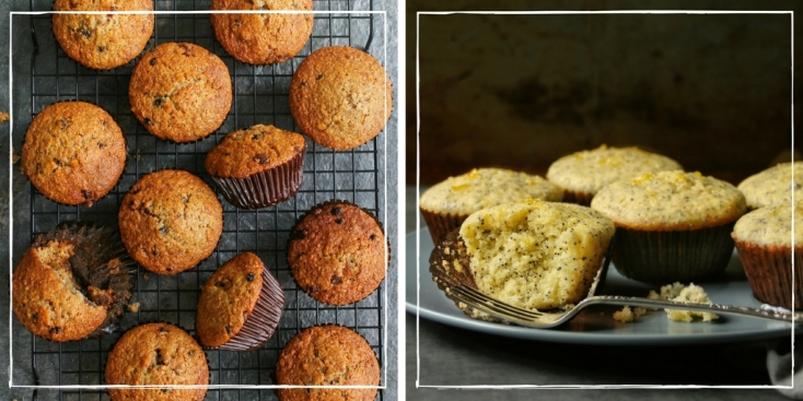 Bran muffins and lemon muffins.