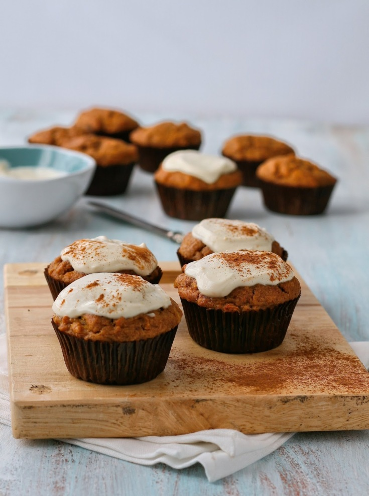 Refined sugar free date muffins with cream cheese topping.