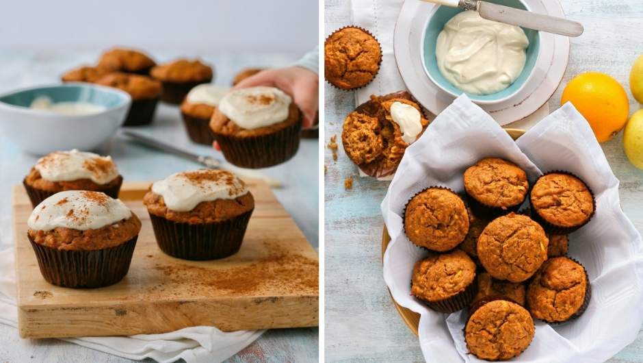 Date, carrot and apple muffins with cream cheese icing.
