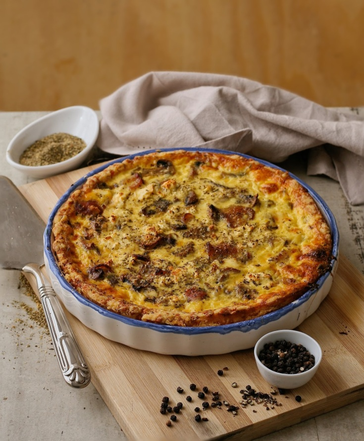 Bacon and mushroom quiche recipe.