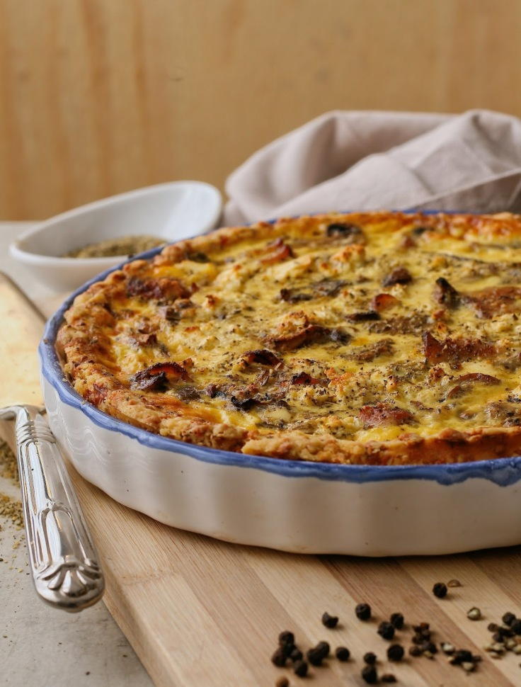 Cheese, bacon and mushroom quiche.
