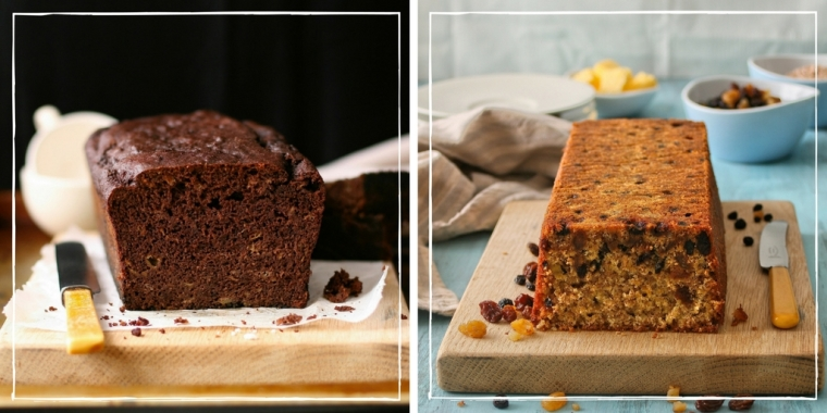 Chocolate banana loaf and wholewheat fruit loaf.