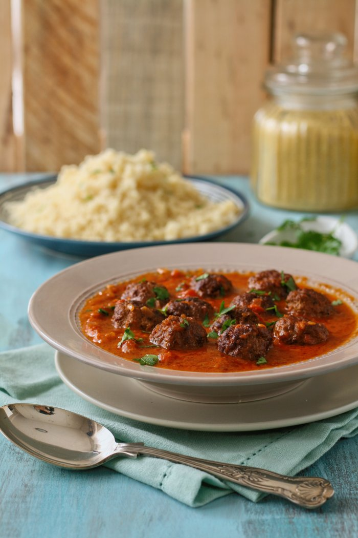 Meatballs and sauce with couscous