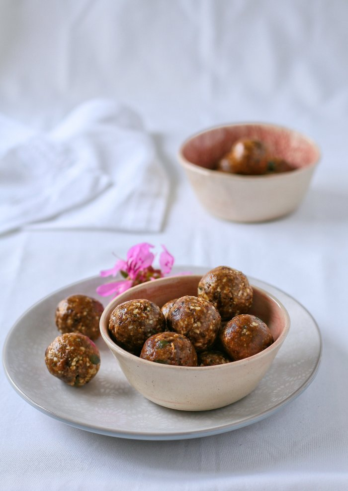 Chocolate date and nut balls.