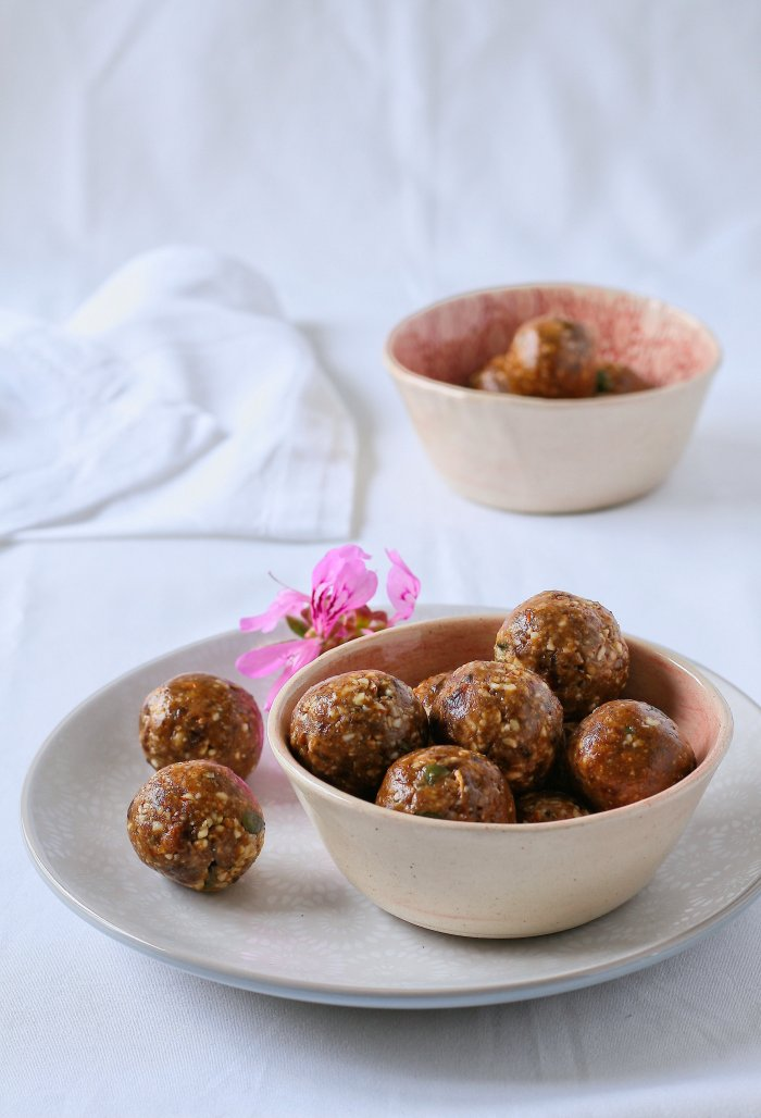 Chocolate balls with nuts and coconut.