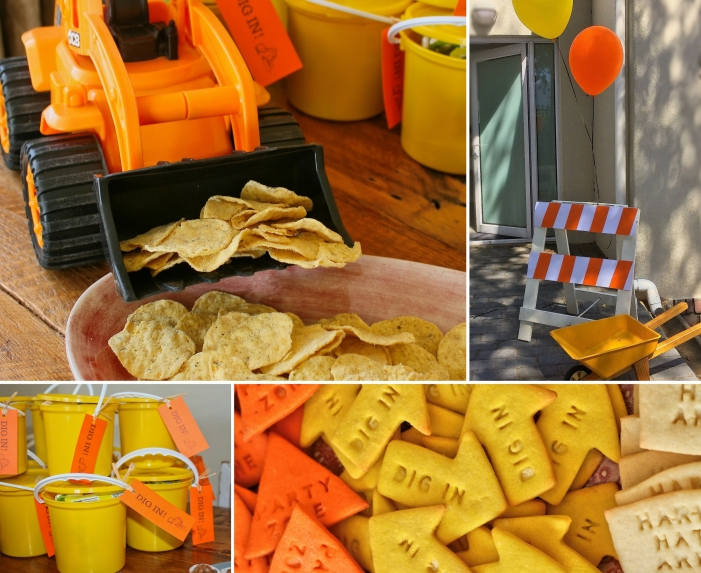 Digger party cookies and decor.