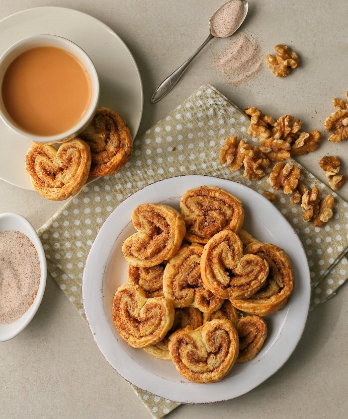 Walnut palmier cookies