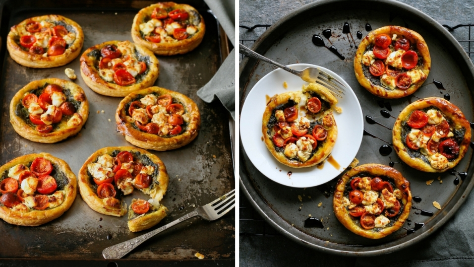 Tomato tarts with puff pastry