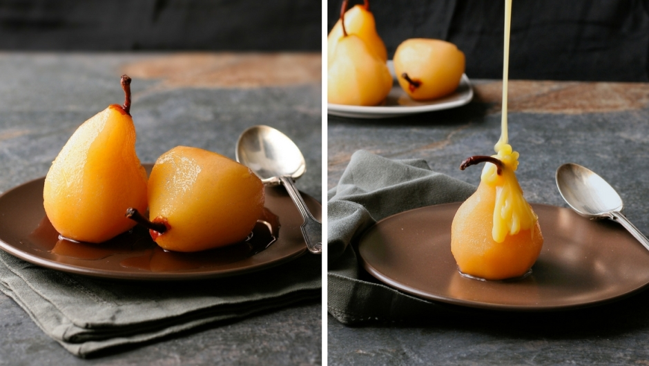 Recipe for pears poached in rose wine.