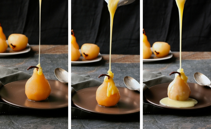 How to make poached pears with chocolate sauce.