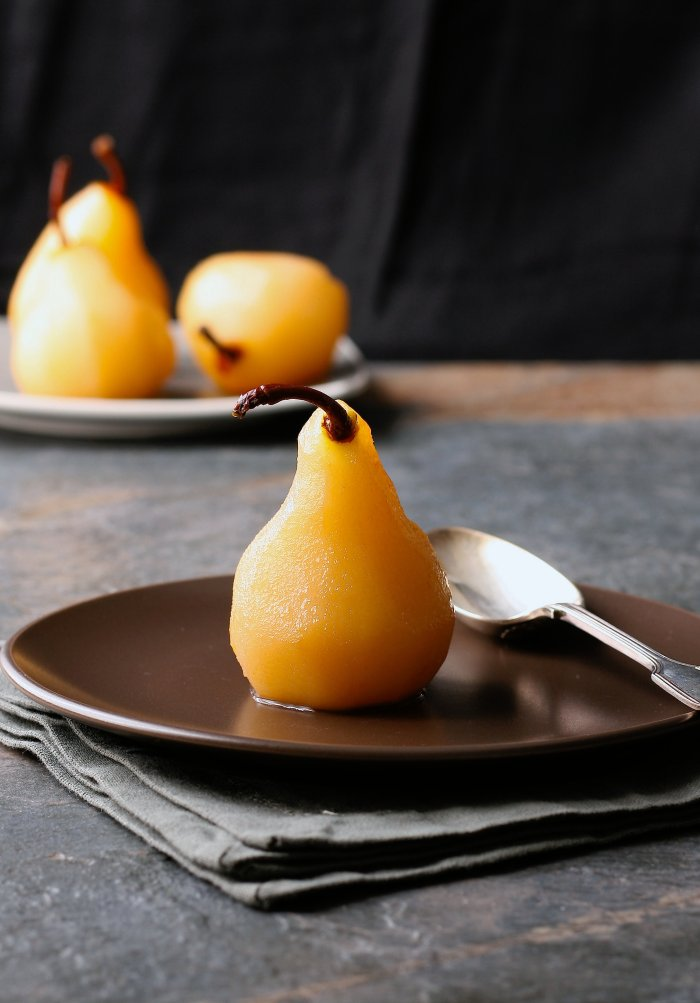 Pears poached in rose wine.