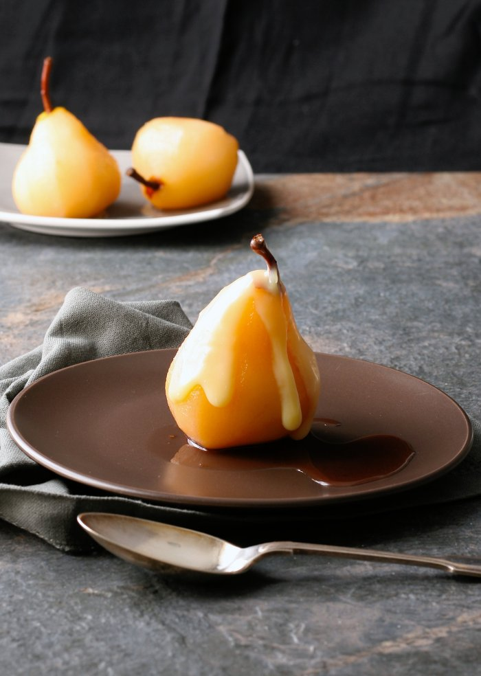 How to poach pears in wine.