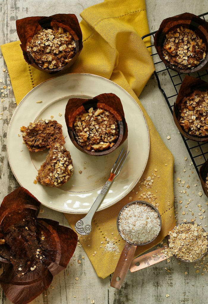 Spiced banana muffins with walnuts