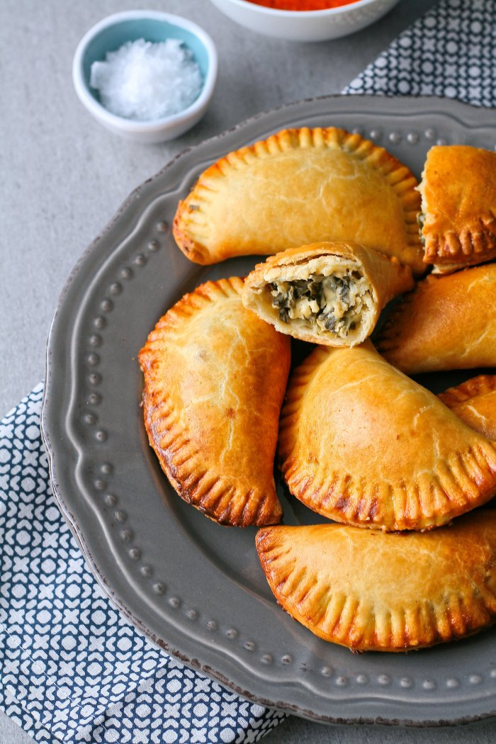 Empanadas with roasted red pepper sauce