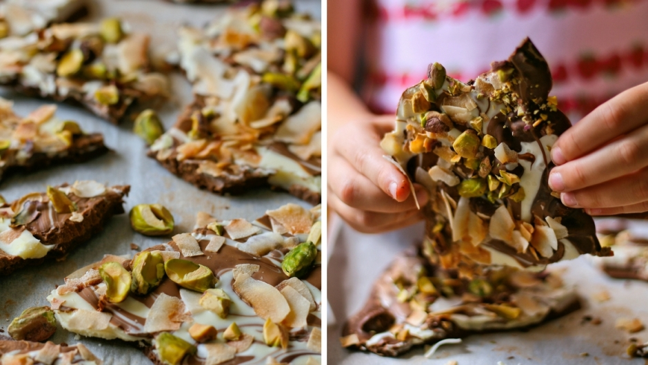 Dark chocolate bark with pistachios and coconut.