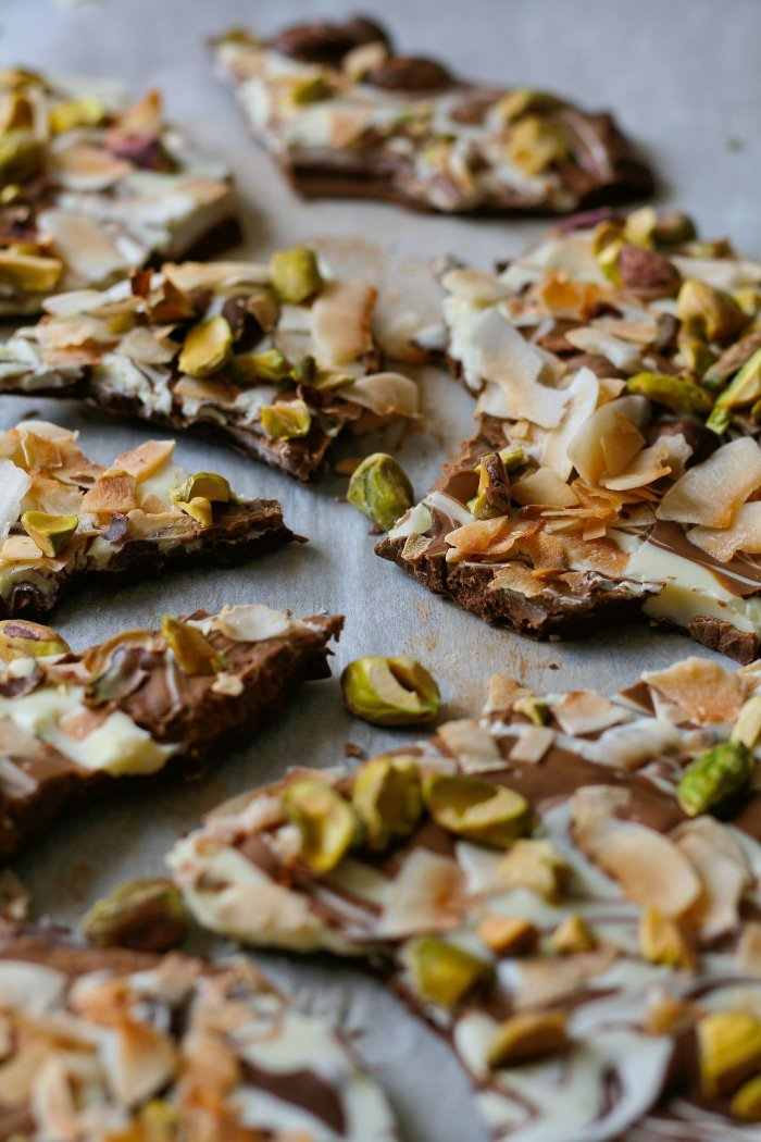 Chocolate bark recipe with nuts and coconut.