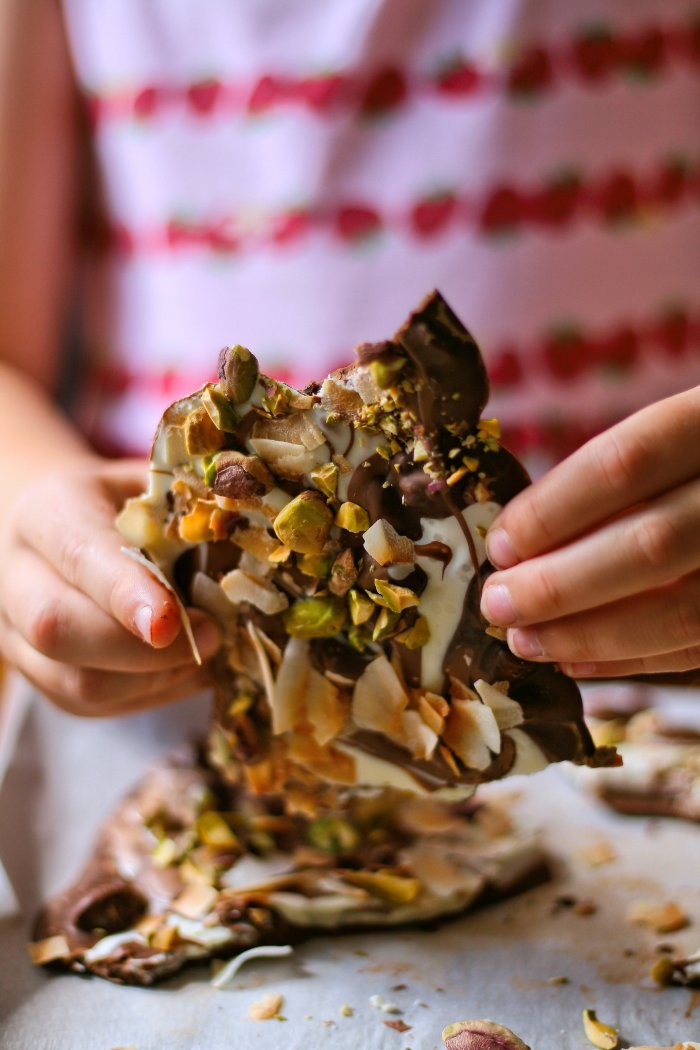 Chocolate bark with pistachios and coconut.