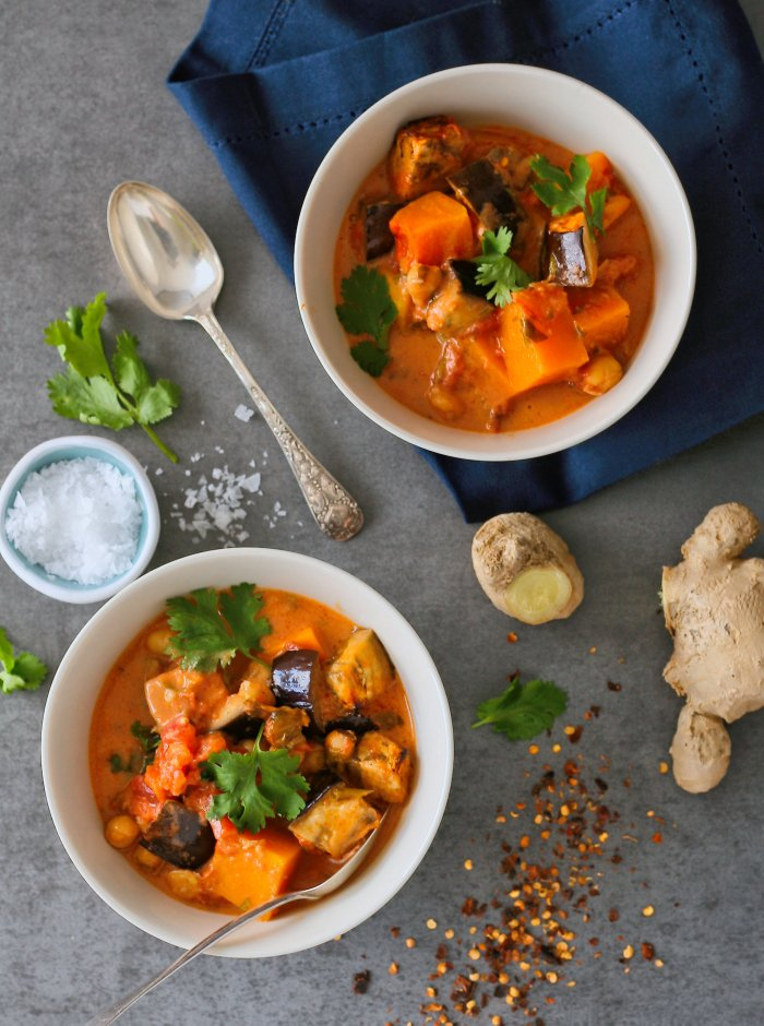 Thai vegetable curry with butternut