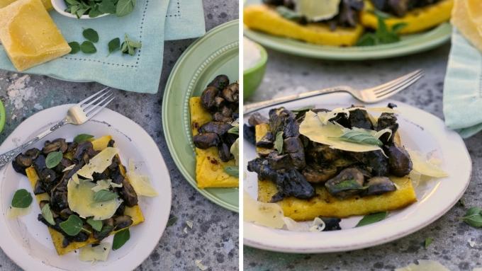 Griddled polenta squares with fried mushrooms