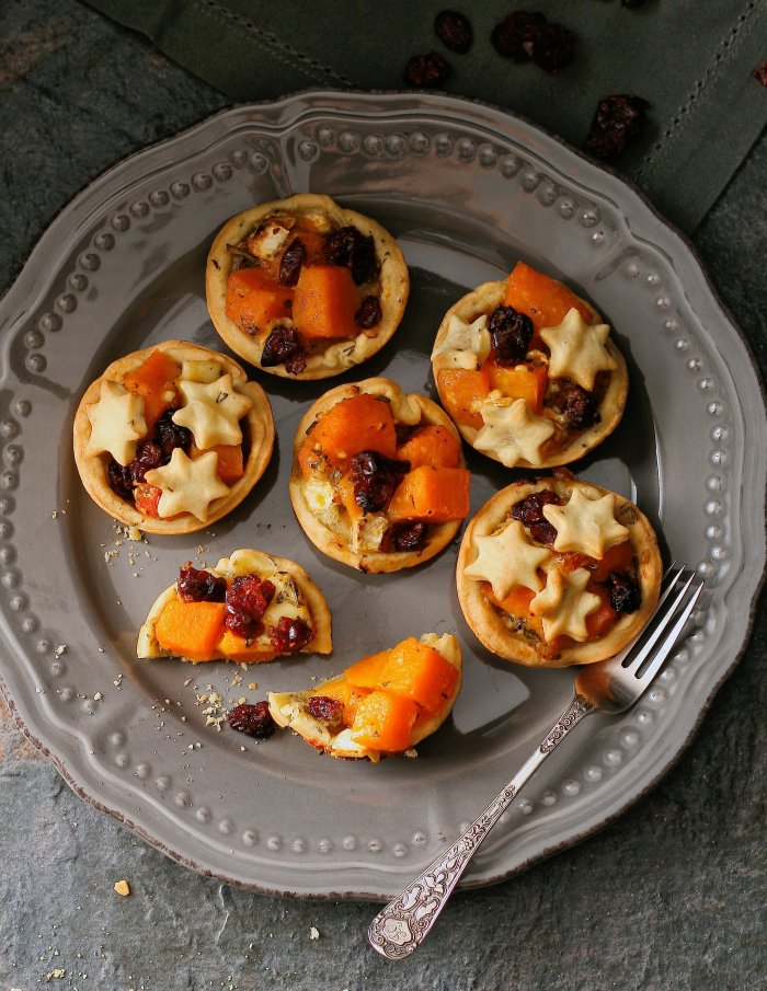 Butternut, brie and cranberry tartlet recipe