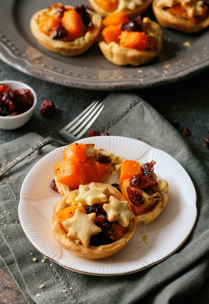 Butternut and brie tartlets with cranberries and shortcrust pastry
