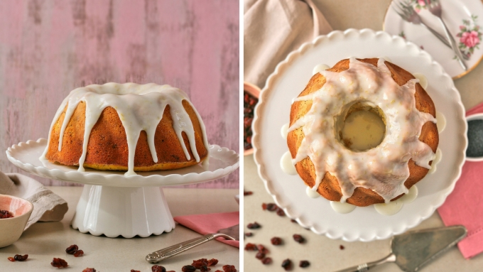 Lemon and poppy seed cake recipe with cranberries