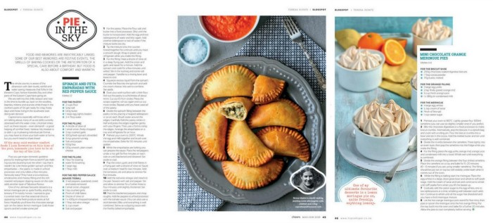 Spinach empanadas and chocolate meringue pies in Cheers magazine