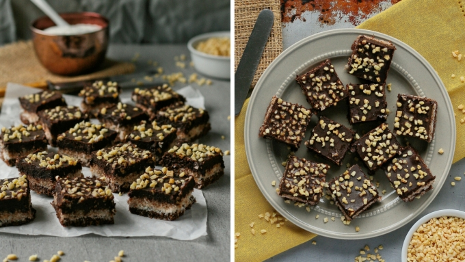 Sugar free chocolate and coconut squares