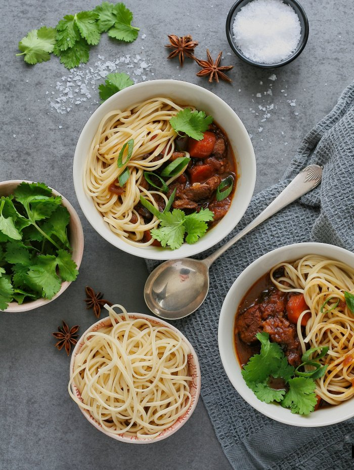 Spicy beef soup with egg noodles