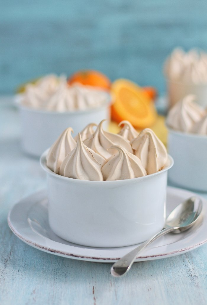 Orange meringue pie with a chocolate base.
