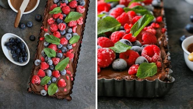 Sugar free, dairy free and gluten free chocolate tart