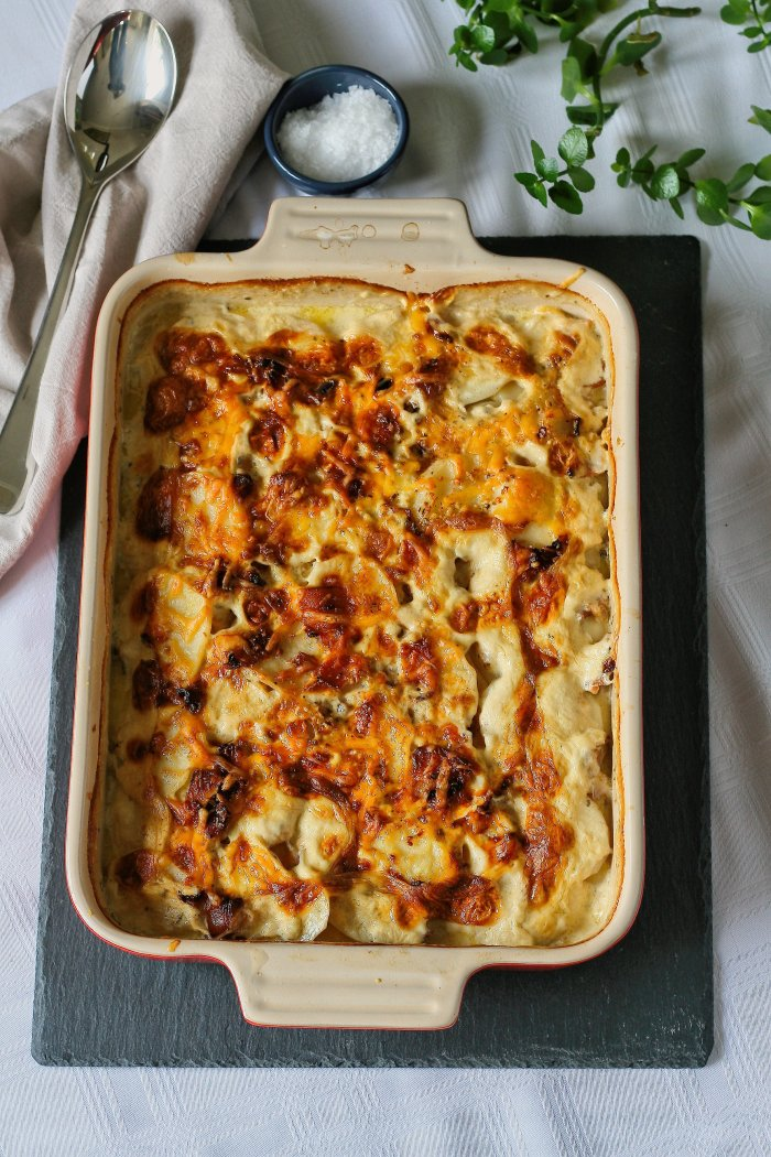 Cheesy potato bake recipe.