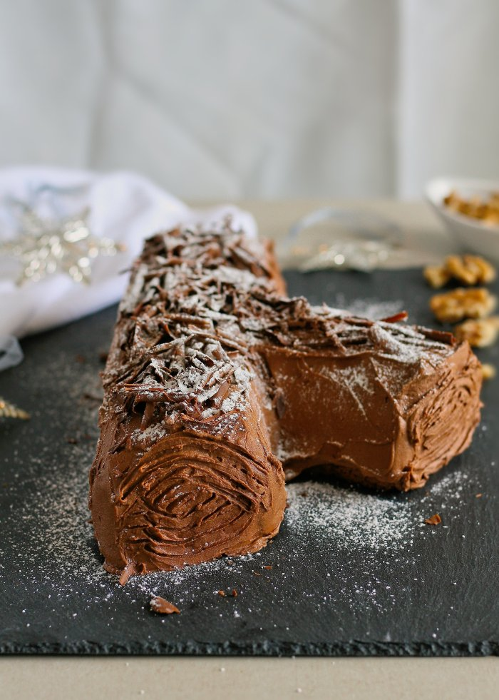Yule log Christmas dessert