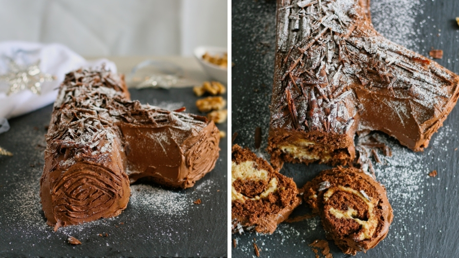 Chocolate Yule log recipe.