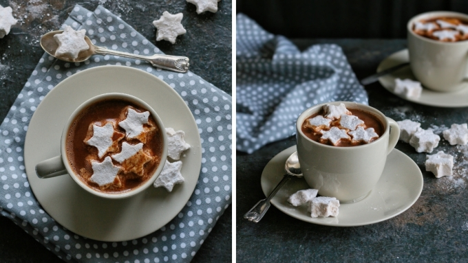 Hot chocolate recipe with real chocolate and homemade marshmallows