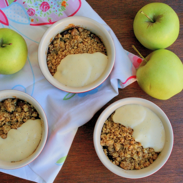 Apple crumble and custard recipe.