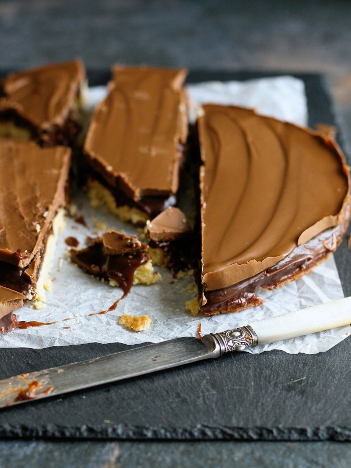 Coffee chocolate millionaire shortbread recipe.