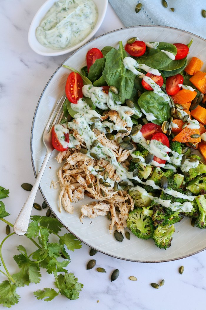 Chicken salad recipe with coriander yoghurt dressing