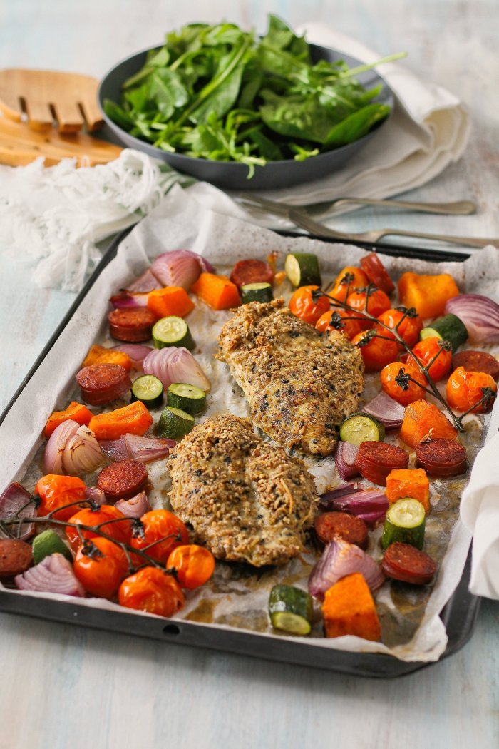 Dukkah chicken and vegetable tray bake