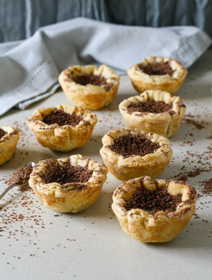 Chocolate and orange custard tarts