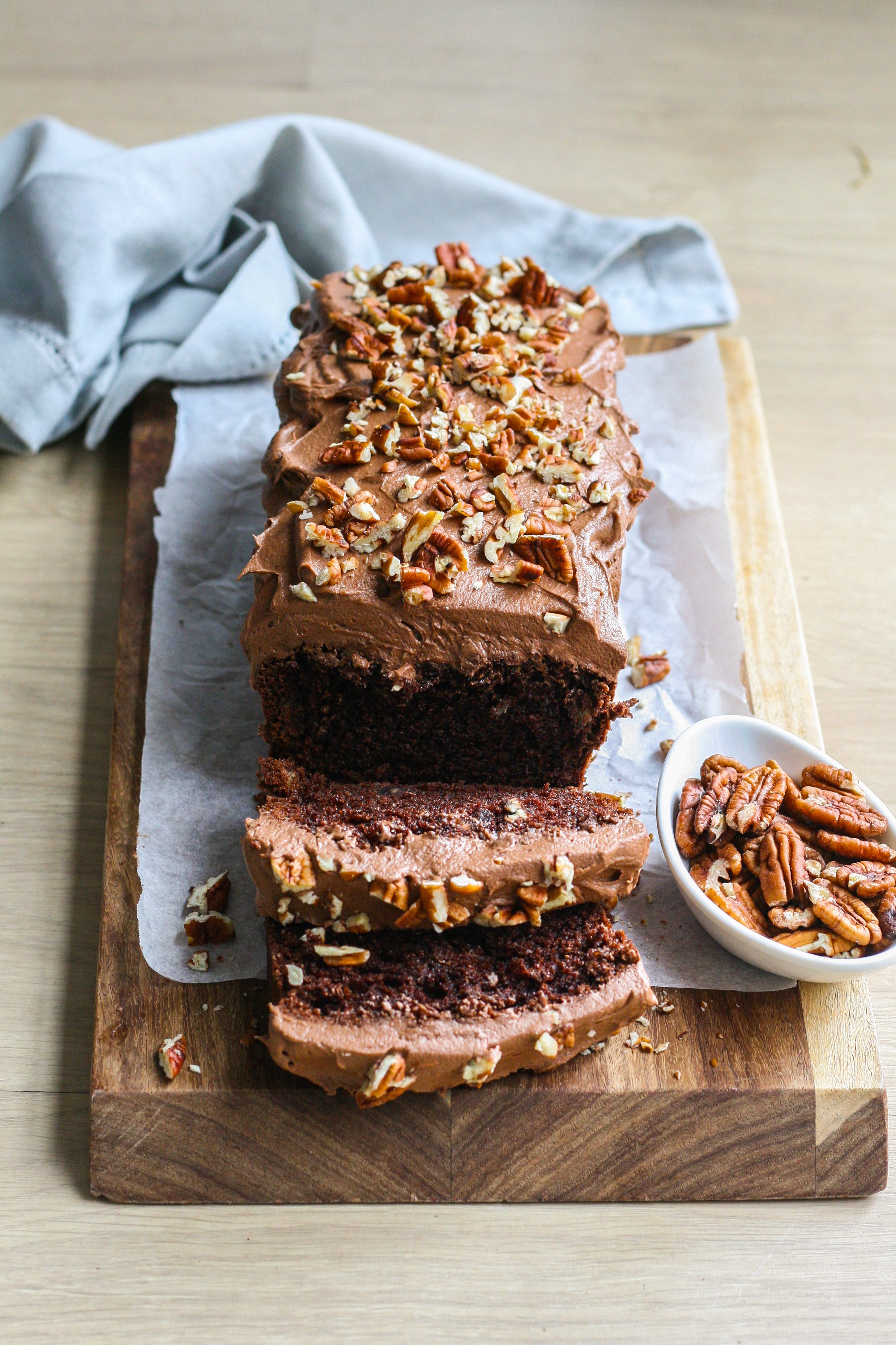 Chocolate and pecan tea loaf cake